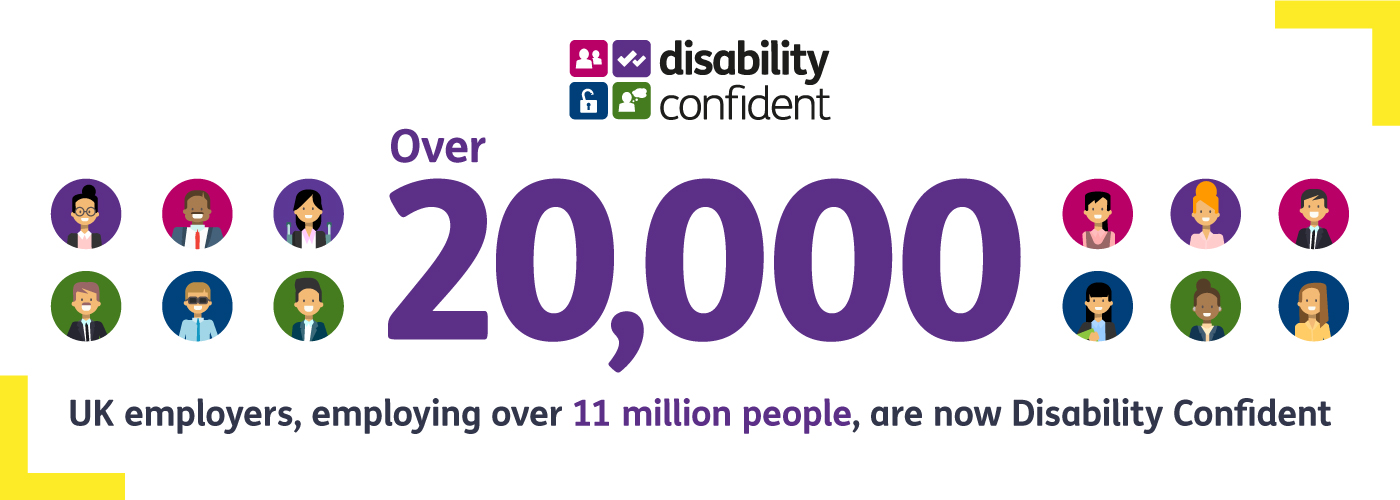 Image caption says over 20,000 UK employers employing over 11 million people are now Disability Confident.